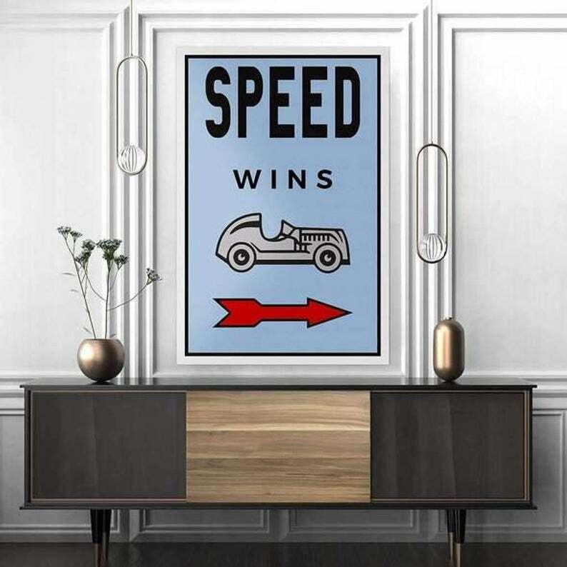 Speed Wins - Monopoly wall art canvas, money canvas, cash art - wolf of wall str