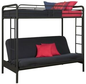 Black twin loft bunk beds futon bed built in ladder kids Black bunk beds
