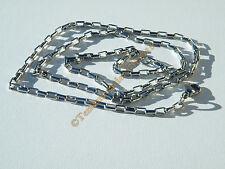 Chaine Collier Ras De Cou 60 cm Acier Inoxydable Maille Rectangle 3 mm Argenté