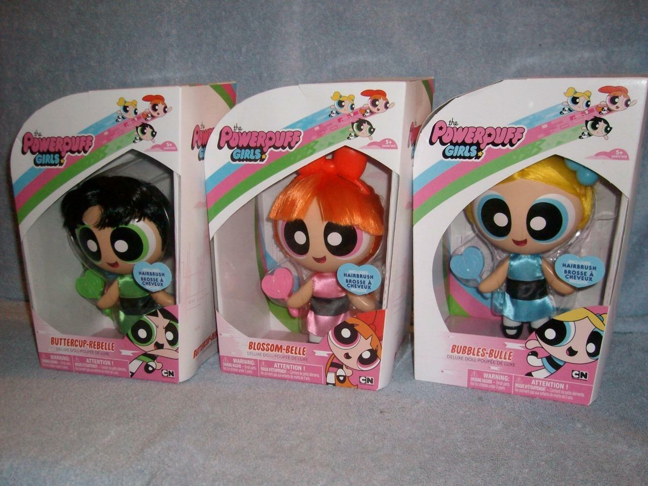 PowerPuff Girls Bubbles Blossom Buttercup Set of 3 Deluxe Dolls Hairbrush New