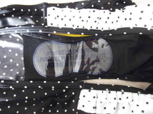 NUOVO Figleaves Taglia 14 a Pois Volant Bikini Slip Bottoms Nero Bianco