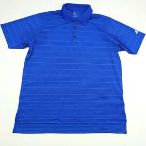 Mens-Adidas-L-ClimaCool-Golf-Polo-Shirt-Blue-Striped-Short-Sleeve-Large