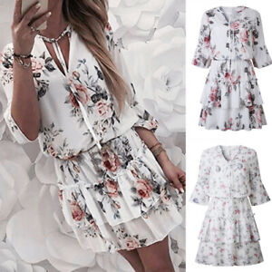Women-Summer-Dress-Floral-Ruffle-Lace-Up-1-2-Sleeve-Evening-Party-Ladies-Dress