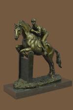 Equestrian Horseback Rider Doing Jump Signed Original Bronze Art Horse Sculpture