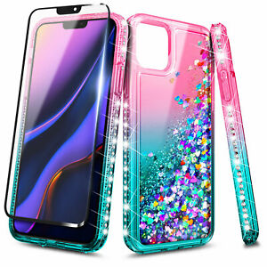 for-Google-Pixel-4-4-XL-Case-Liquid-Glitter-Bling-Phone-Cover-Tempered-Glass