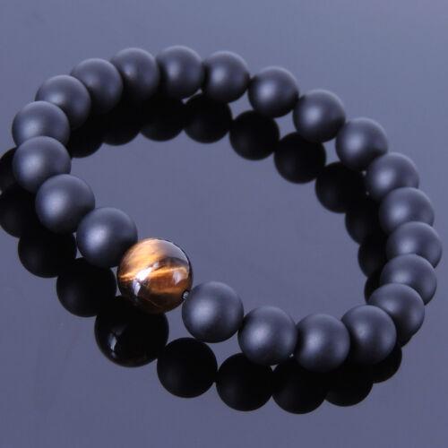 Men/'s Women/'s Handmade Healing Gemstone Bracelet Matte Black Onyx Oeil De Tigre 197
