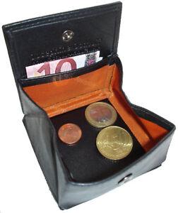 Leder-Geldboerse-CENT-Schwarz-mit-Wiener-Schachtel-Etui-Abend-Geldbeutel-Muenzbox