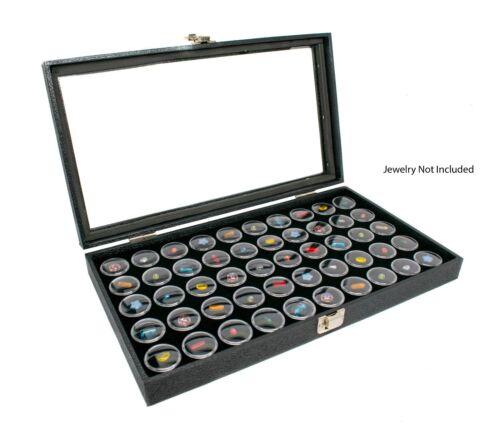 Novel Box Glass Top Black Jewelry Display Case With Gem Jar Tray Inserts