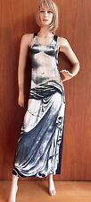 Jean Paul Gaultier maxi dress Sz8 racer back black and white 100% silk, long