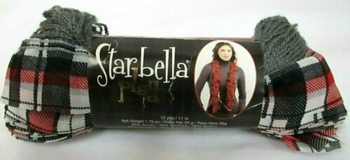 New~Premier Yarns~STARBELLA PLAID~Parliament #68-05 Red-Black-White~Ruffle Scarf