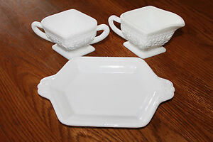 Vintage-Indiana-Cream-amp-Sugar-on-Diamond-Shaped-Tray-Sandwich-Pattern-1950-039-s