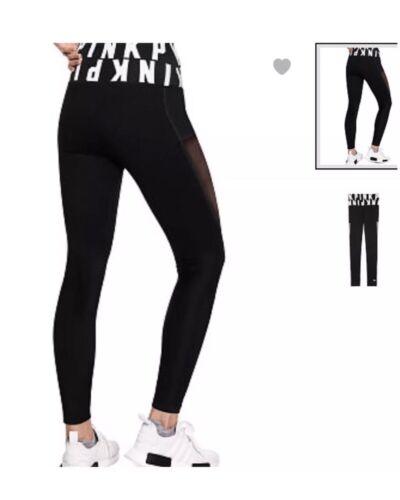 LEGGINGS M BLACK//WHITE LOGO High Waist Mesh Victorias Secret PINK PANTS