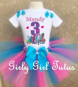 1st Birthday Girl Tutu Shirt Set Outfit Princess Poppy Trolls Rainbow Pink sq
