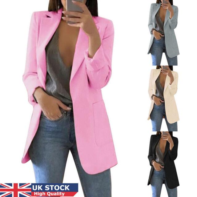 Ladies Frill Ruffle Bell Sleeve Peplum Crop Top Duster Coat Jacket Women Blazers