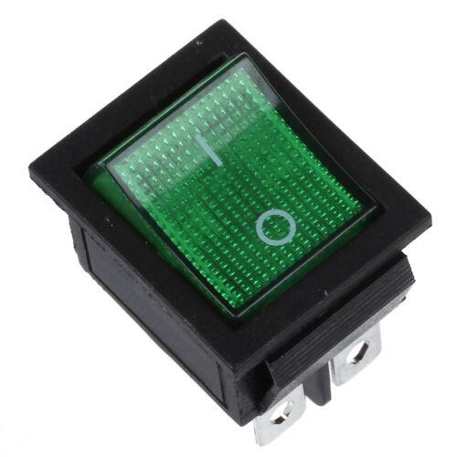 Green Light 4 Pin DPST ON//OFF Snap in Boat Rocker Switch 16A//250V 15A//125V B6A1