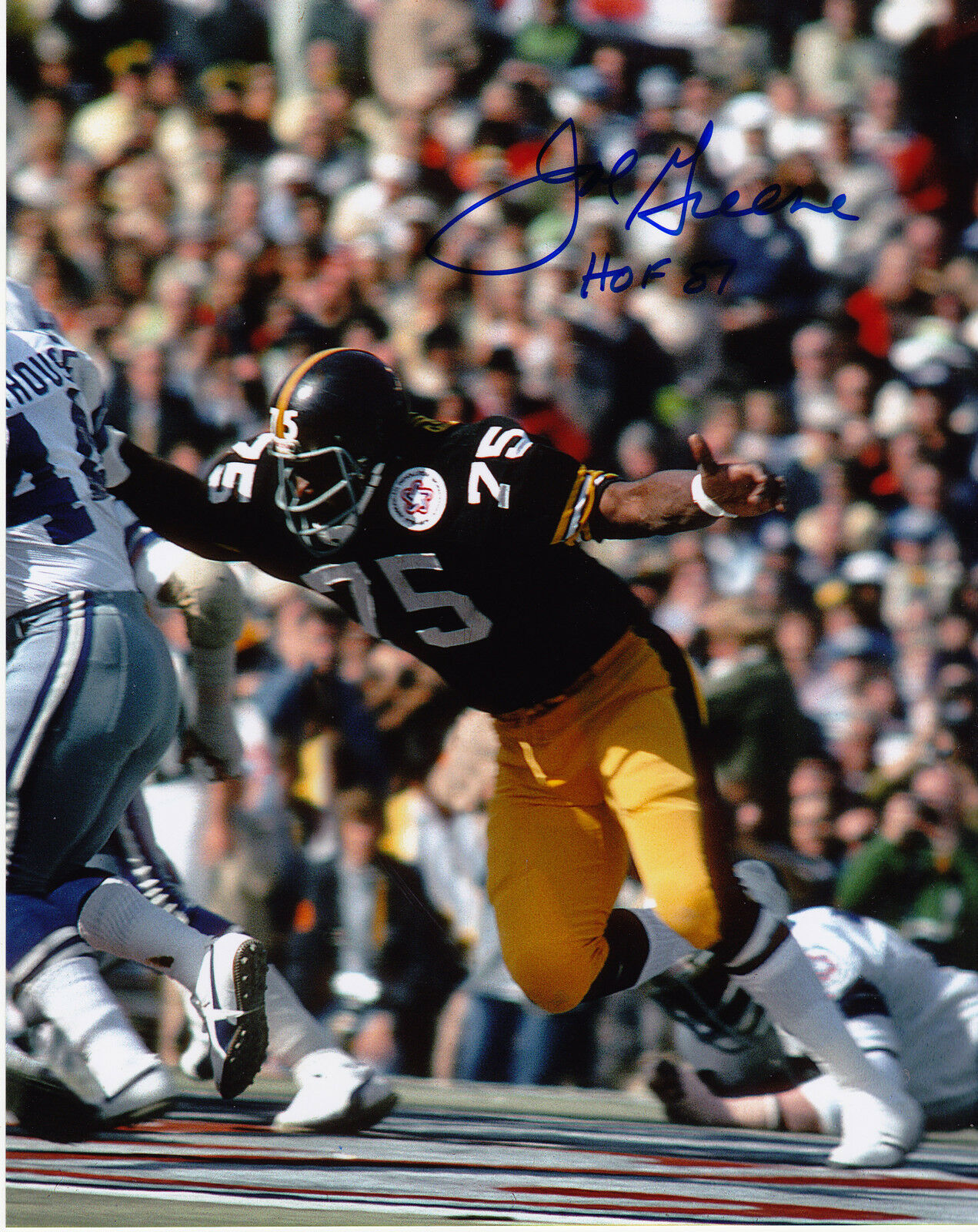 Joe verdee Pittsburgh Steeler Hof 87 Accion Firmado