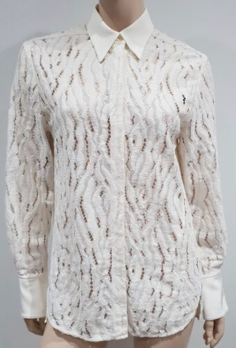 3 8 Lace White Shirt Cream Top Silk Long Lim Tiger 1 Blouse Phillip Uk12 Sleeve OwqRTrO