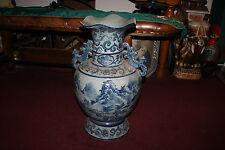 Large Japanese Chinese Celadon Blue Floor Vase W/Symbols Water Mt Fuji-Handles