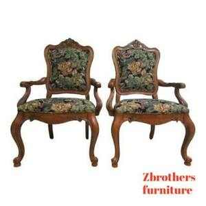 Pair-Ethan-Allen-Tuscany-French-Carved-Dining-Room-Arm-Chairs