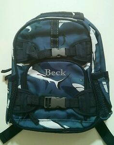 b90b929ae9c2 Pottery Barn Kids Mackenzie Blue Shark Mini Preschool Backpack name ...