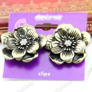 CLIP-ON-vintage-Brass-3cm-BIG-FLOWER-crystal-Antique-Style-Earrings-CLIPS-chunky