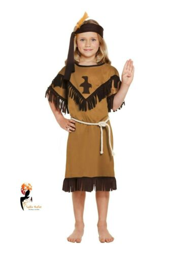 GIRLS NATIVE INDIAN American Squaw Fancy Dress Costume Girl Kids Child Outfit