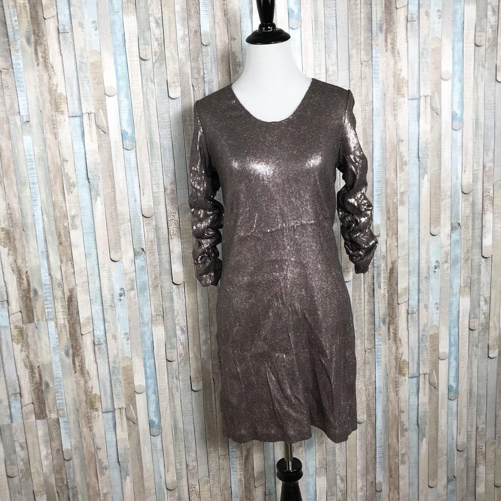 Badgley Mischka Mark James XS Metallic Bronze Sequin Cocktail Sheath Dress