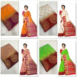 8a93d2a6e0 Image is loading Designer-Cotton-Silk-Saree-Traditional-Party-Wear-Ethnic-