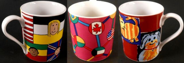 Save the Children Lot of 3 Coffee Cups Mugs Flags, Pets, Children All Different