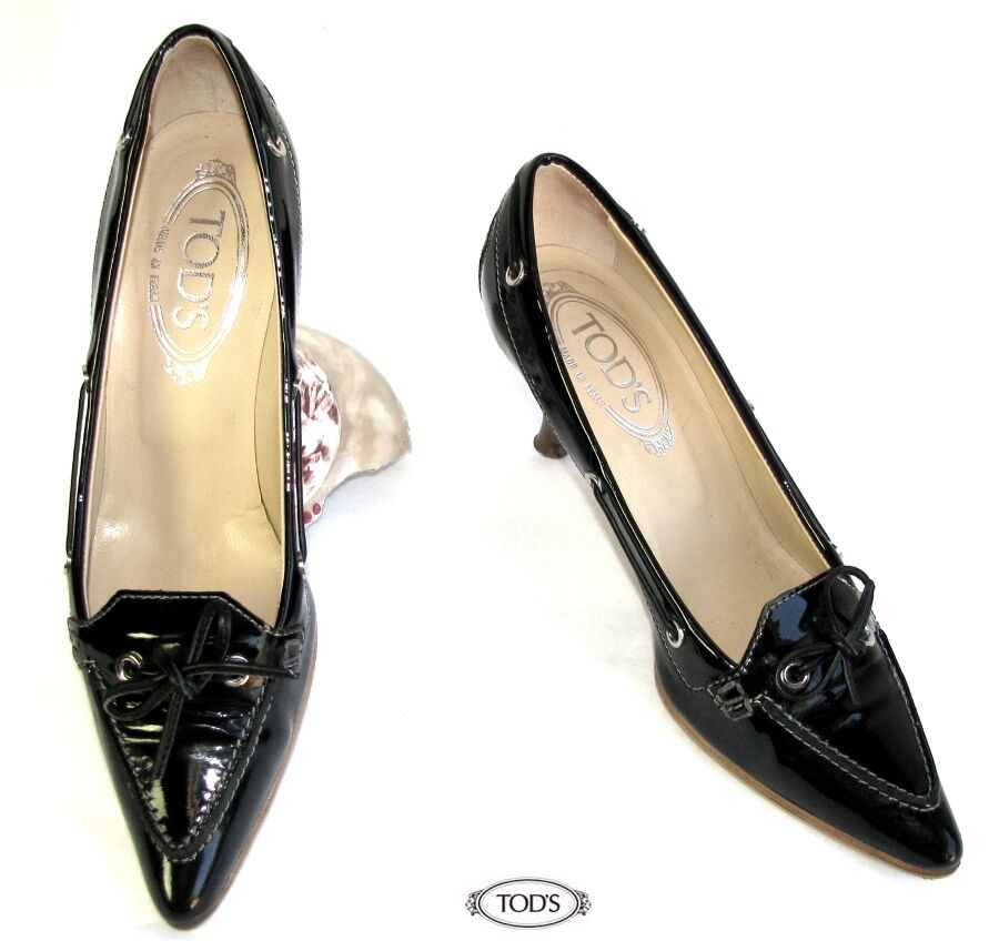 TOD'S COURT SHOES SHARP  POINTED ALL BLACK PATENT LEATHER 36.5 ITL 37.5 FR MINT