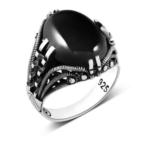 Herren Silber Ring Mit Schwarzem Oval Onyx Stein 925 Sterling Schmuck