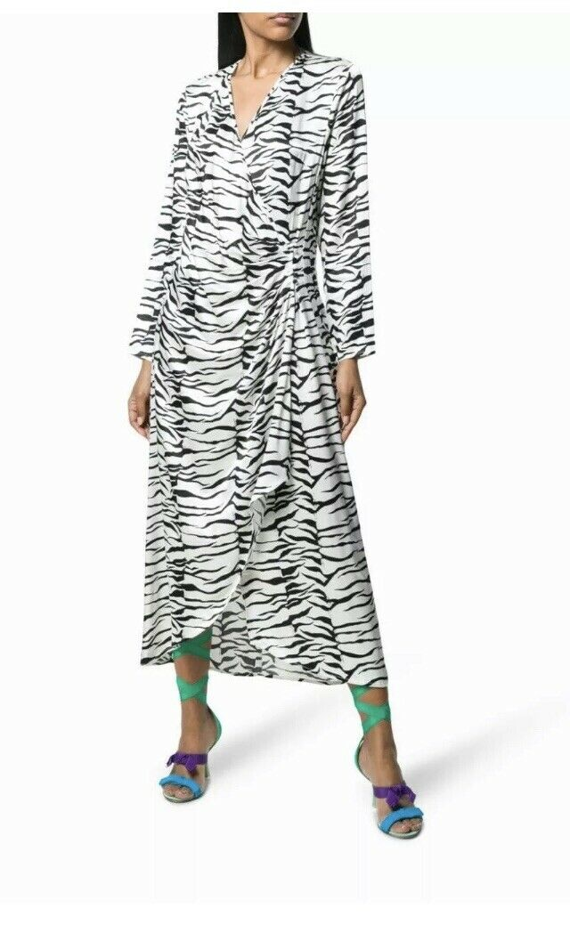 BNWT Rixo Betty Monokrom Tiger -klänning Storlek XL RRP