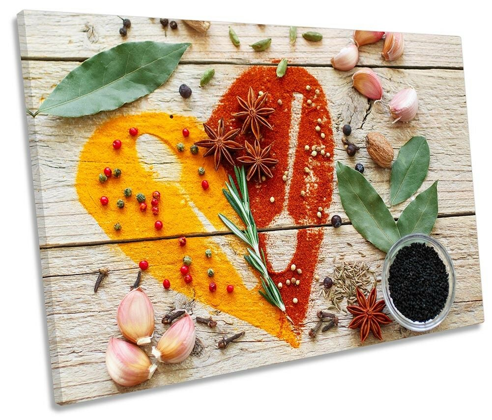 Heart Kitchen Spices Herbs Picture SINGLE CANVAS WALL ART Print