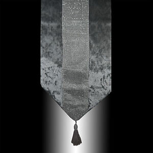 NEW-SHINNY-BLING-SILVER-GREY-THICK-VELVET-TASSEL-WEDDING-BED-TABLE-RUNNER-CLOTH