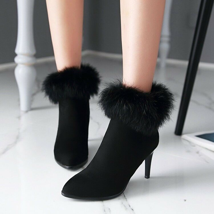 Bottes Talons Aiguilles Chaussures pour Femmes 8.5 cm Noir Confortable Cuir