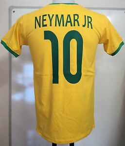 Bresil-Neymar-Jr-10-Retro-Football-tee-shirt-taille-adulte-medium-NEUF