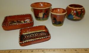 Lot-Vintage-Mexican-Hand-Painted-Folk-Art-Pottery-Small-Flower-Pots-Bowl-Dishes