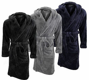 Michael Paul Mens Hooded Super Softcosy Fleece Dressing Gown Robe