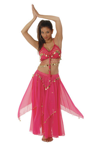 Lady FUCHSIA BELLY DANCER Costume Pink Harem Girl Genie Adult Small Medium 4 6 8  sc 1 st  eBay & Ladies Fuchsia Belly Dancer Costume HAREM Girl Genie Adult Small ...