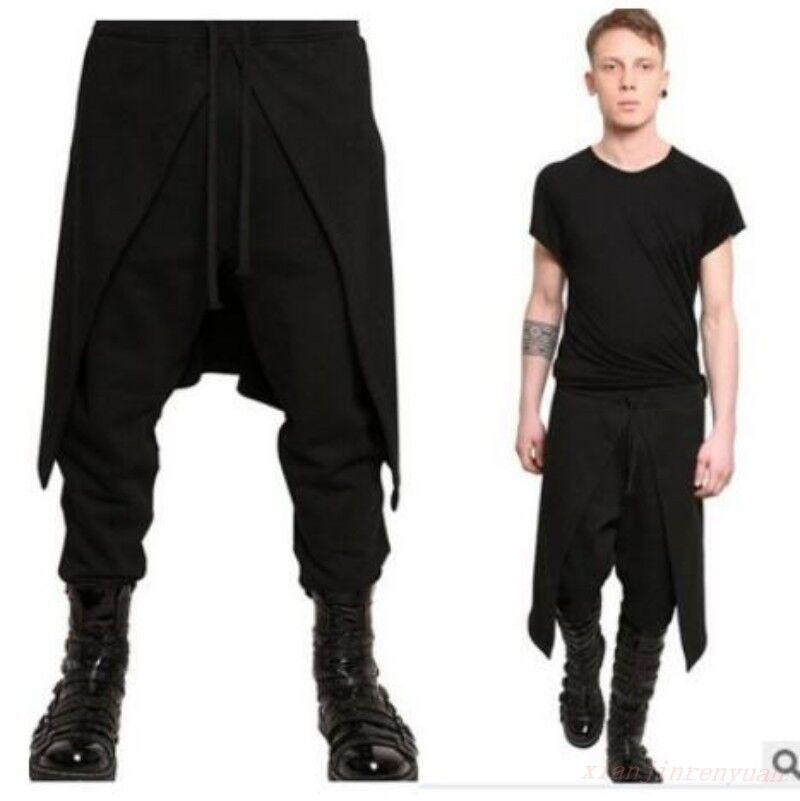 Men Harem Long Pants Loose Hairstyle Dance Smart Skinhy Punk Goth Korean Trouser