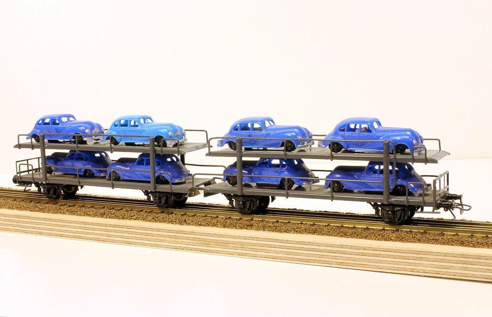 04712 Auv Firma Dahmer Autotransportwagen mit 8 EMW blu Spur H0 120385