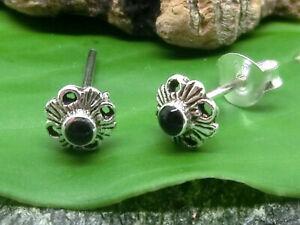 Blume-Stein-schwarz-925-Echt-Silber-Ohrstecker-Ohrringe-Damen-Kinder