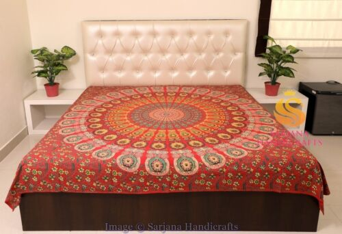 Queen Size Cotton Flat Bed Sheet Bed Cover Psychedelic Mandala Bedspread Bedding