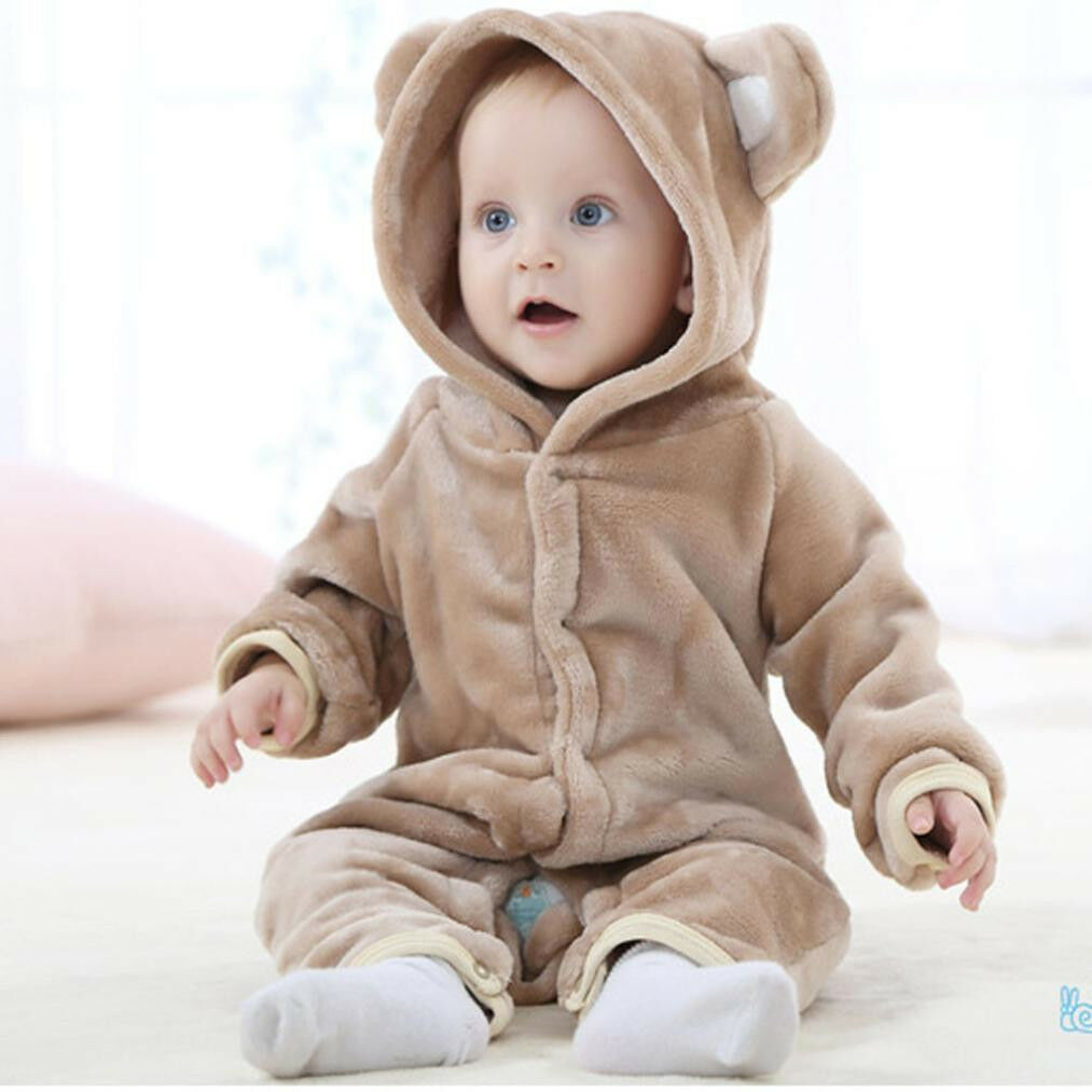 Lovely Baby Girl Boy Soft Cartoon Bear Velvet Hooded Jumpsuit Romper Thick Cloth