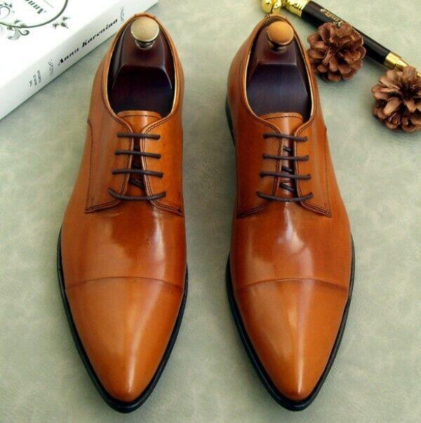 Mens Lace Up Wedding Dress Formal scarpe 2019 Pointy Toe Oxfords scarpe Leather