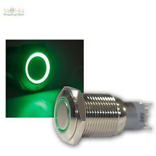 Druckschalter Metall, max. 230V/3A, Schalter mit LED Beleuchtung-Ring Grün