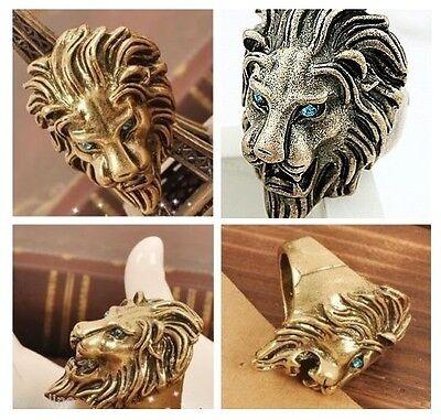 *UK* VINTAGE GOLD LION WITH BLUE EYES RING P/8 JEWELLERY GOTHIC EMO MEN ROAR