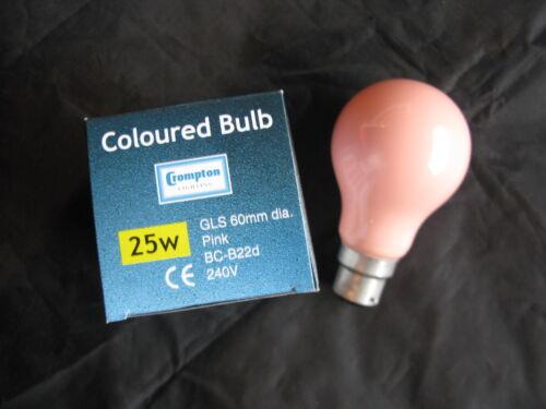 5 x  CROMPTON PINK  25W Coloured B22 BC Bayonet Lamp Light Bulb 240V Old Style