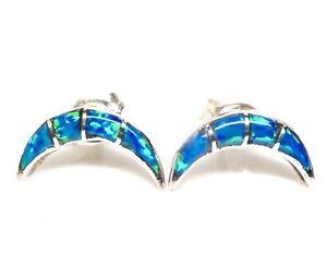 Zuni-Handmade-Blue-Opal-Inlay-Sterling-Silver-Post-Earrings