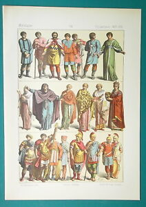 BYZANTINE-COSTUME-5-7th-C-Emperor-Queen-Soldiers-1883-Color-Litho-Print